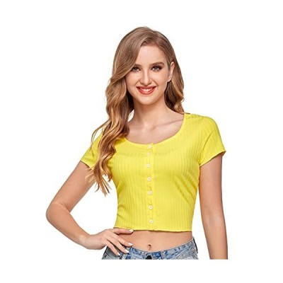 Sylanfia Womens Sexy Crop Top Solid Short Sleeve Button Round Neck Ribbed K