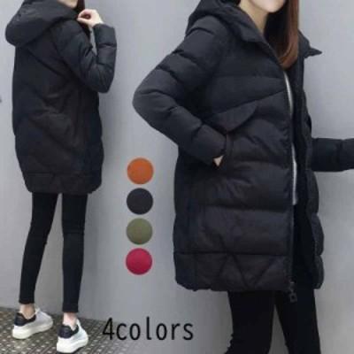 中綿ジャケット レディース ダウンコート フード付き 中綿コート アウター ロングコート ブルゾン 大きいサイズ 通勤 通学 ダウンジャケ