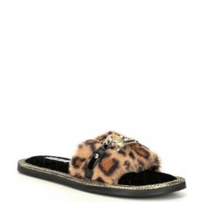ゲス レディース サンダル シューズ Sannah Leopard Print Faux Fur Slides Leopard