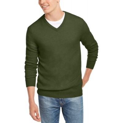 クラブルーム Club Room メンズ ニット・セーター Vネック トップス V-Neck Cashmere Sweater New Olive Heather