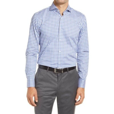 ヒューゴ ボス BOSS メンズ シャツ トップス Jason Slim Fit Check Cotton Button-Up Shirt Medium Blue