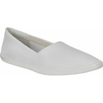 エコー レディース スニーカー シューズ Women's ECCO Simpil Fashion Slip-on Sneaker White Pebbled Nubuck