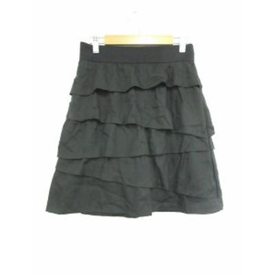 【中古】クイーンズコート QUEENS COURT スカート フレア ティアード ひざ丈 2 黒 ブラック /MS レディース