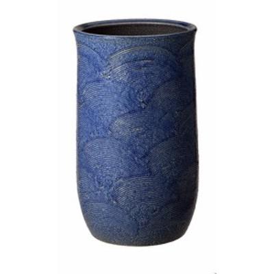 信楽焼陶器 傘立て 和風 モダン 洋風 青 ブルー 青海波傘立 高さ44.0cm