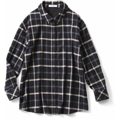 大人シックなやわらかチェックシャツチュニック〈ブラック〉 IEDIT[イディット] フェリシモ FELISSIMO