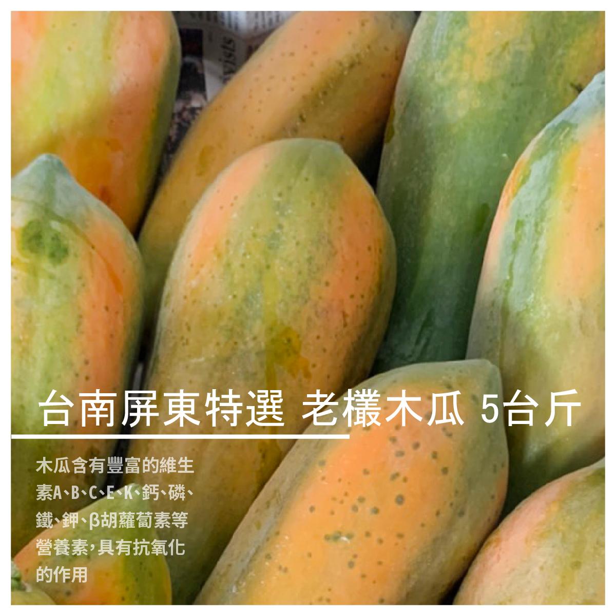 【上憬青果行】台南屏東特選 老欉木瓜 5台斤