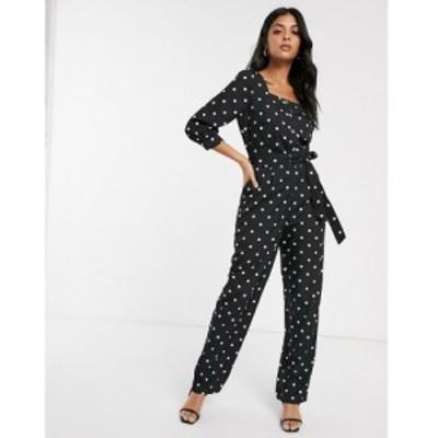 ワイ エー エス Y.A.S レディース オールインワン ジャンプスーツ ワンピース・ドレス square neck polka dot jumpsuit ブラック