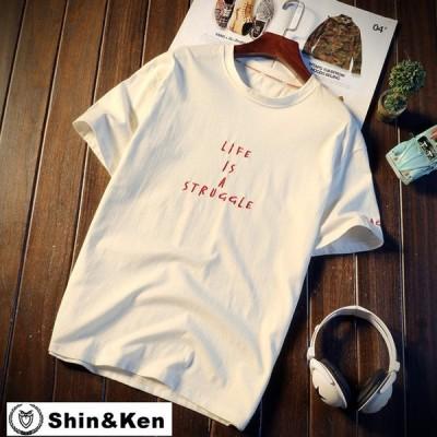 Tシャツ メンズ 半袖 プリント コットン Tシャツ トップス デザイン ブランド 夏物 綿 Tシャツ dfkpt048