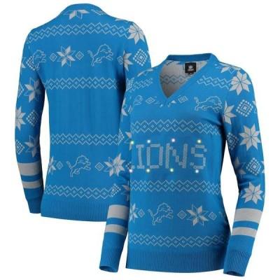 フォコ シャツ トップス レディース Detroit Lions Women's Light-Up V-Neck Ugly Sweater Blue