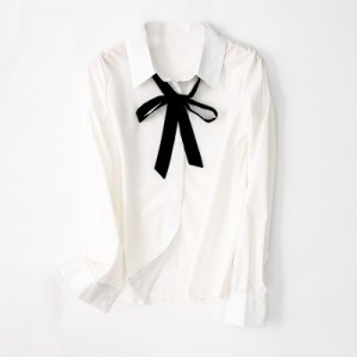 【取り寄せ】リボンが可愛い知的で清楚なシャツ オンオフ両方OK!ホワイト S/M/L