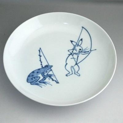 京焼   清水焼 鳥獣戯画7寸皿 芳山