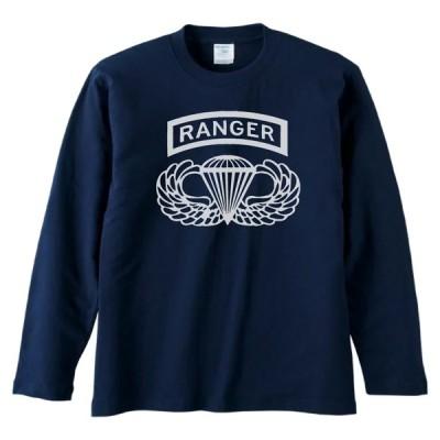 おもしろ デザイン RANGER 長袖 ロングスリーブ Tシャツ ネイビー