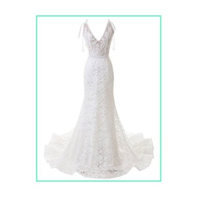 SOLOVEDRESS Women's Backless Strap Mermaid Elegant Sexy Lace Wedding Dress Beach Bridal Wedding Gown Ivory US14並行輸入品