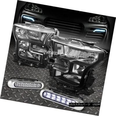 ヘッドライト ブラックヘッドライトクリアコーナーランプ+ 15-17フォードF150ピックアップ用12 LEDグリルDRL BLACK HEADLIG