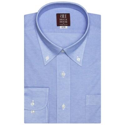 トーキョーシャツ TOKYO SHIRTSビズポロ 【大きいサイズ】形態安定ノーアイロン ボタンダウン 長袖ビジネスニットワイシャツ (ブルー)