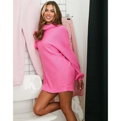 パラレルライン Parallel Lines レディース ワンピース ミニ丈 ワンピース・ドレス High Neck Mini Jumper Dress In Hot Pink ブライトピンク
