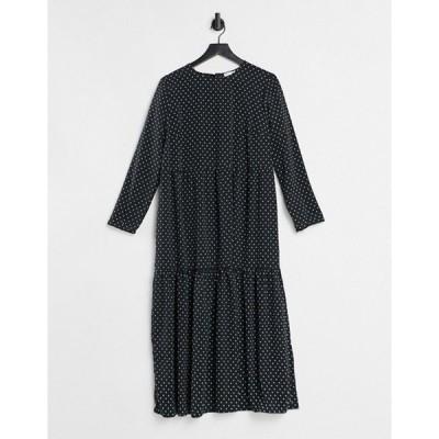 エイソス レディース ワンピース トップス ASOS DESIGN long sleeve tiered smock midi dress in black/nude dots