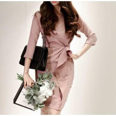 韓国 ファッション レディース ワンピースドレス 膝丈 ハイウエスト フリル タイト スリット 七分袖 きれいめ お呼ばれ 結婚式 二次会 フ