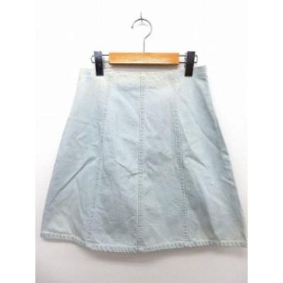 【中古】マーキュリーデュオ MERCURYDUO スカート 膝丈 デニム 台形 バックジップ 無地 シンプル M ライトブルー