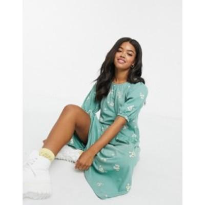 エイソス レディース ワンピース トップス ASOS DESIGN midi embroidered daisy smock dress with puff sleeve in sage Mint green