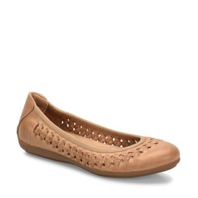 コンフォーティバ レディース サンダル シューズ Marilu Woven Leather Flat Slip Ons Caramel