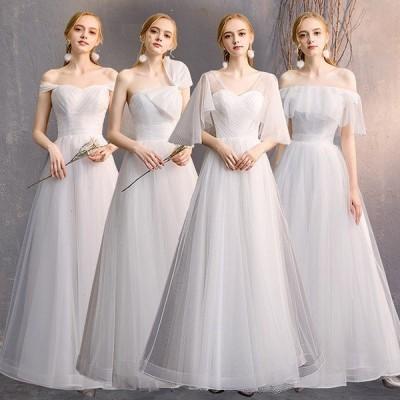 ブライズメイド ドレス ロング丈 二次会 袖あり 大きいリボン パーティードレス 大きいサイズ 大人 結婚式 フォーマル 花嫁 成人式 演奏会