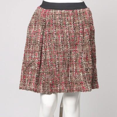 フェリシモサーカス FelissimoCircus インナーパンツ付きで暖かい 華やぐミックスツイードのウール混Aラインスカート (ピンク×ブラウン)