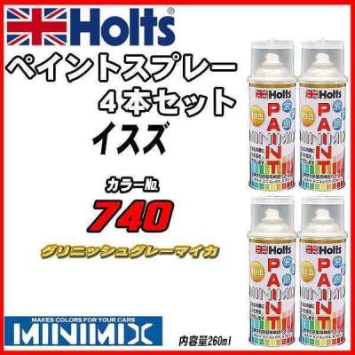 ペイントスプレー 4本セット イスズ 740 グリニッシュグレーマイカ Holts MINIMIX