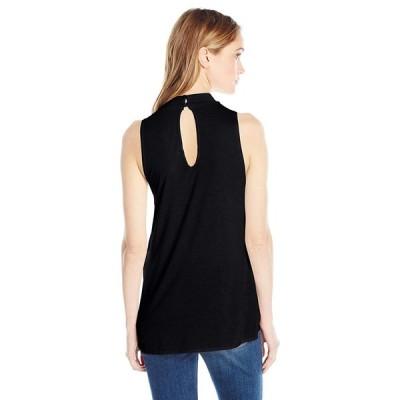 LAmade Women's Sleeveless Mock Neck Overlap Front Top, Black, L
