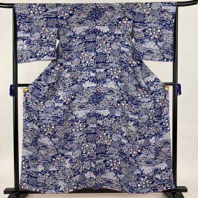 小紋 美品 秀品 風景 建物 藍色 袷 身丈158.5cm 裄丈65.5cm M 正絹 中古
