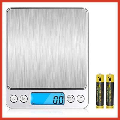 V-supre キッチンスケール デジタルスケール 電子 はかり 軽量 計り 高精度センサー 計量範囲0.1g3000g 風袋引き機