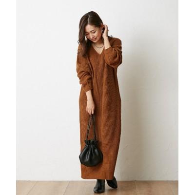 【人気色再入荷♪】ゆるっと可愛いVネック畔ニットワンピース(ロング丈) (ワンピース)Dress
