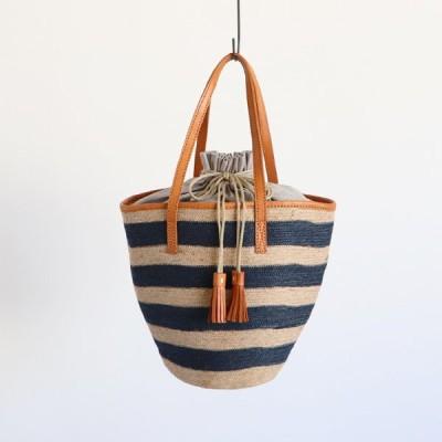 ■「ジュート鞄」縦長かごバッグ トート バッグ しましま ボーダー巾着タッセル 牛革レザーN78A