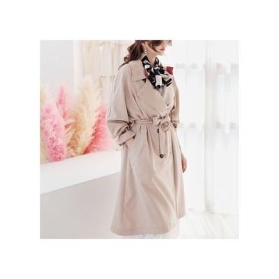 韓国ファッション ボリューム袖 かわいい リボンベルト トレンチコート 2色 トップス 秋 冬 秋物 新作 レディース 服 大人