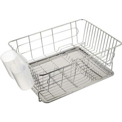 パール金属 食器 水切り かご スライド式  H-9544 トレー付 ステンレス アルファージュ 食器かご 乾燥 シンプル おしゃれ スタイリッシュ 食器乾燥