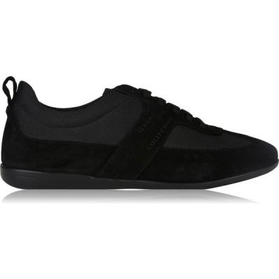 ヴェルサーチ VERSACE COLLECTION メンズ スニーカー ローカット シューズ・靴 Suede Low Top Trainers Black V