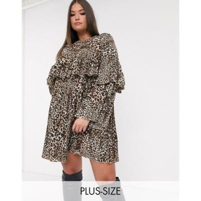 ミスガイデッド ドレス 大きいサイズ レディース Missguided Plus pleated smock dress in leopard print エイソス ASOS マルチカラー