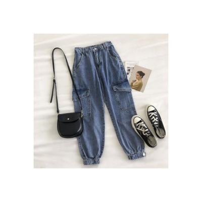 【送料無料】ツーリング 風 女性のジーンズ 秋 新品 韓国風 デザイン 感 ダブルポケット ハイウエ | 346770_A63590-4681901