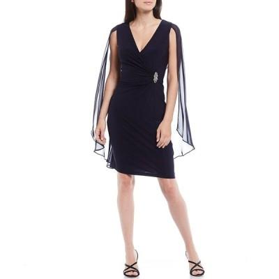 アールアンドエムリチャーズ レディース ワンピース トップス V-Neck Sleeveless Capelet Embellished Jersey Sheath Dress Navy