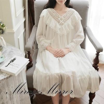レディース 白い 姫系 長袖 パジャマ 綿 レース チュール ワンピース ネグリジェ 寝巻き パジャマ ロマンティック 女性用 部屋着 ナイトウェア