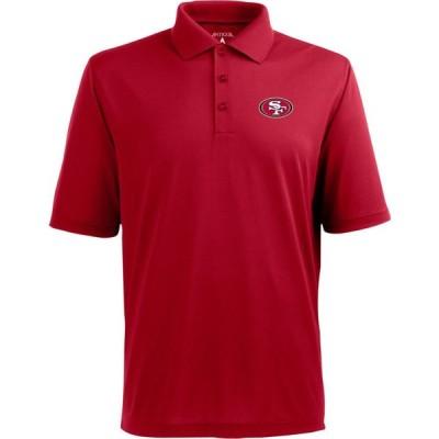 アンティグア Antigua メンズ ポロシャツ トップス San Francisco 49ers Pique Xtra-Lite Dark Red Polo