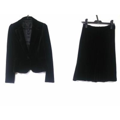 アナイ ANAYI スカートスーツ サイズ38 M レディース 美品 - 黒 ベロア【中古】20201215