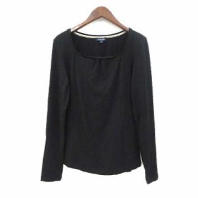 【中古】バーバリー ロンドン BURBERRY LONDON Tシャツ 1 S 黒 ブラック レーヨン 長袖 無地 シンプル レディース