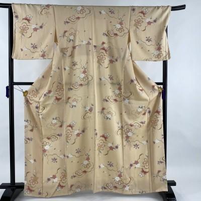 小紋 美品 秀品 桜 桜の花びら 薄オレンジ 袷 165cm 68cm L 正絹 中古