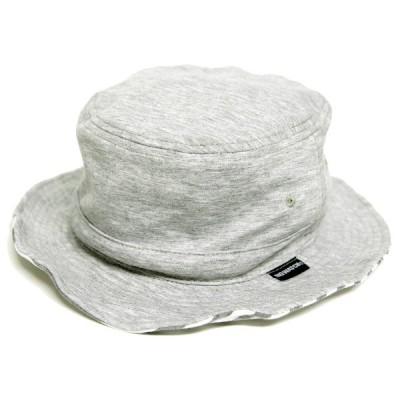 大きいサイズ 帽子 L XL メンズ スウェット リバーシブル ボーダー ハット MIXグレー  BIGWATCH 正規品  /ビッグワッチ バケットハット UVケア