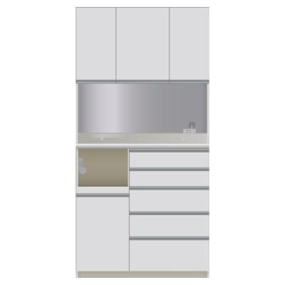 家具 収納 キッチン収納 食器棚 レンジ台 家電が使いやすいハイカウンター奥行45cm ダイニングボード高さ203cm幅100cm/パモウナDQL-S1000R DQR-S1000R 549201