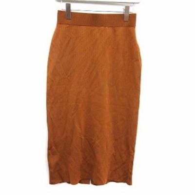 【中古】ノーブル NOBLE 19AW スカート ニット タイト ロング 茶 ブラウン /KH レディース