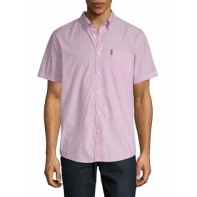 ベンシャーマン メンズ カジュアル ボタンダウンシャツ Pinstripe Cotton Button-Down Shirt