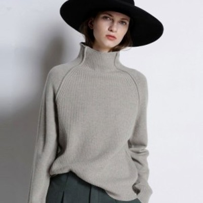 セーター ニット ハイネック 長袖 リブ 無地 大人可愛い ゆったり オーバーサイズ カジュアル 韓国ファッション 春夏 デート お出かけ 女