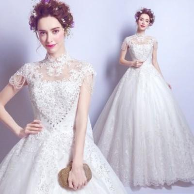 花嫁ウエディングドレス ホワイト白 パーティードレス結婚式 二次会 発表会ステージドレス演出服 フォーマルドレス司会者 大きいサイズ
